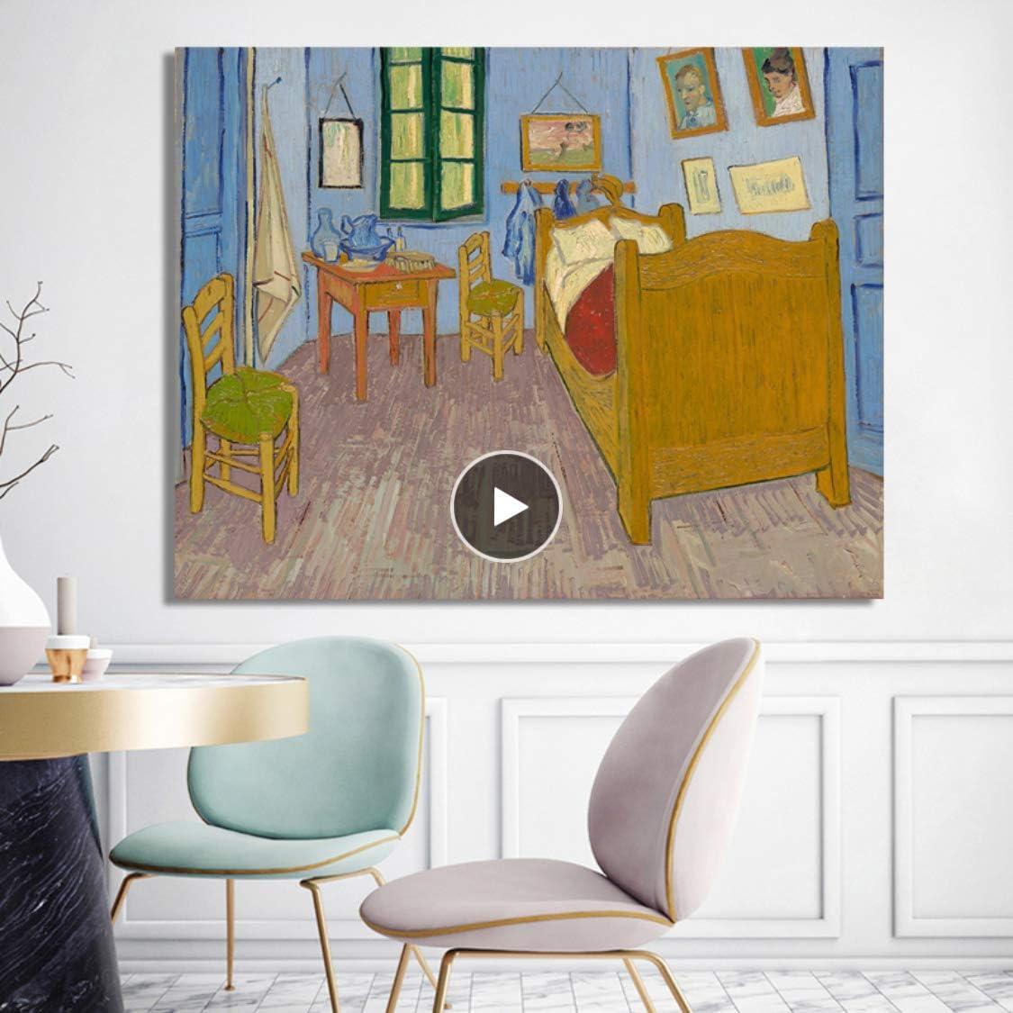 Danjiao Carteles E Impresiones En Lienzo Arte De La Pared Pintura En Lienzo El Dormitorio De Vincent En Arles Cuadros Decorativos Para La Decoración Del Hogar De La Sala De Estar Sala De Esta 60x90cm