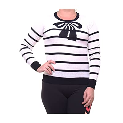 Maison Jules Womens Striped Bow Knit Sweater at Women's Clothing store