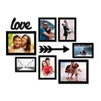 Paper Plane Design Set of 7 Individual Wall Photo Frame Size(3pc-6x8,2pc-8x10,2pc-5x7,+ 2 MDF Plaque (Black)