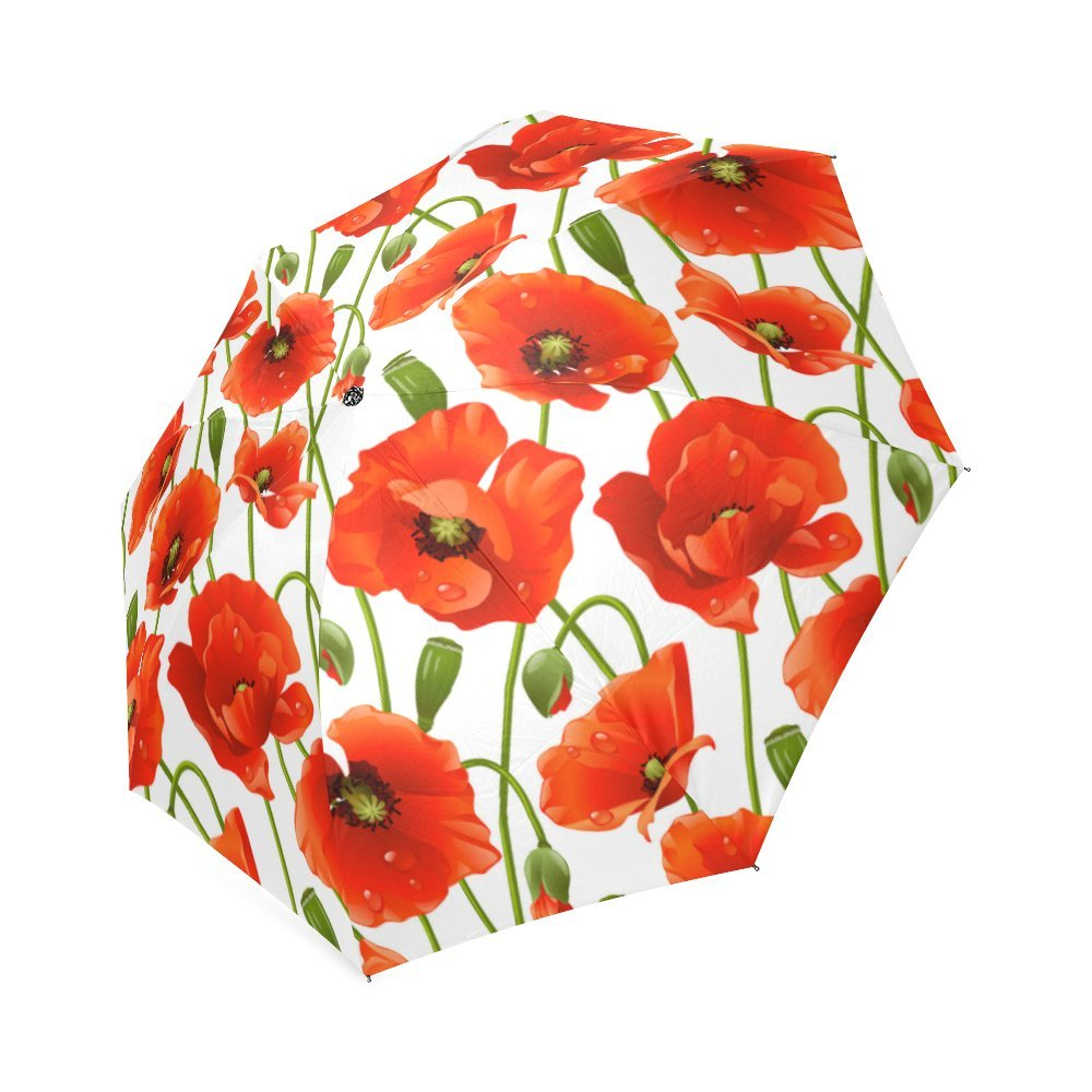 Hot Sale Poppy Flower Design Foldable Umbrella Compact Umbrella