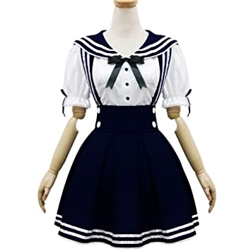 Pretty Lolita Maid Cosplay Costumes Sailor School Uniform Cosplay Halloween Party Dress,Dark Blue,