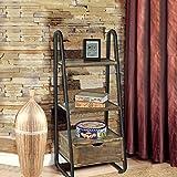Topower 3-Tier Ladder Shelf Metal Frame Wooden Shelving Multifunctional Strong Storage Rack