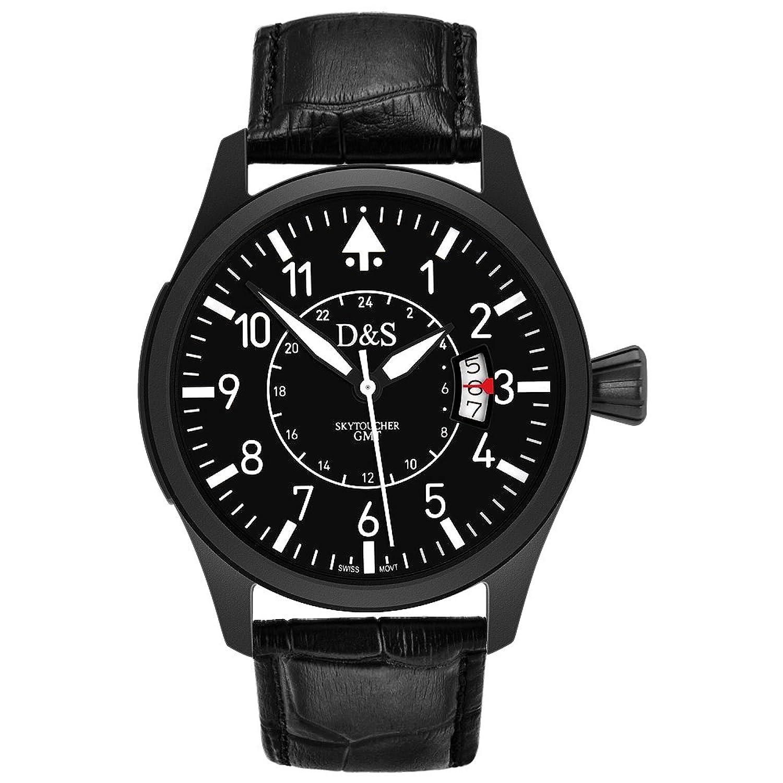Herren Armbanduhr Quarz Swiss Bewegung mit Schwarz Zifferblatt Chronograph-Anzeige und echtem Leder Gurt schwarz