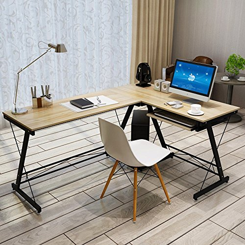 L Shaped Office Desk Home Corner Desk Computer Office PC Laptop Study Table Workstation Home Office Desk (Style 2, Beige)