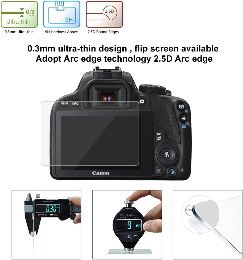 2.5D 9H Tempered Glass Film for Canon 100D M3 //G1X2 Durable Compatible with Canon 100D