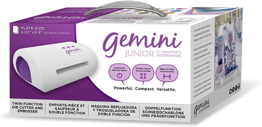 Gemini Twin-Function Cutter & Embosser Crafter's Companion Junior Jnr Portable Die Cutting and Embossing Machine, White