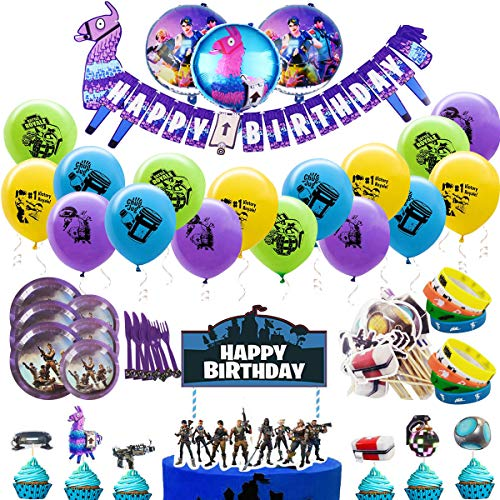 Video Game Party Supplies, Birthday Party Decorations Eco Themed Party Accessories Set for Game Fans - Banner Latex & Foil Balloons Bracelets Cake Toppers cake Plates Knives Forks Spoons Accessories