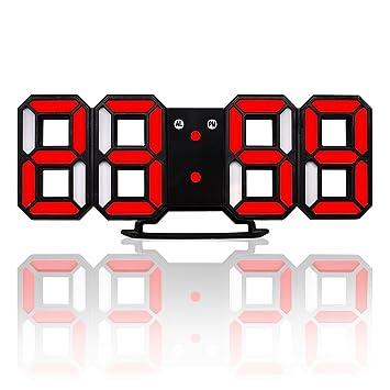 SODIAL Nuevo Reloj de pared moderno Reloj de pared digital LED 3D Reloj de pared Negro y rojo: Amazon.es: Hogar