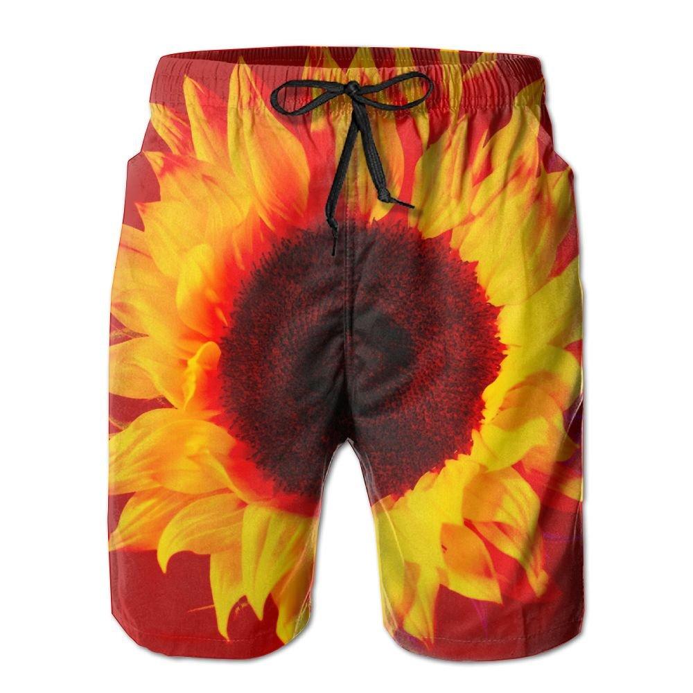 MIPU SHANGMAO Mens Beautiful Sunflower Summer Beach Shorts Leisure Quick Dry Swimming Pants