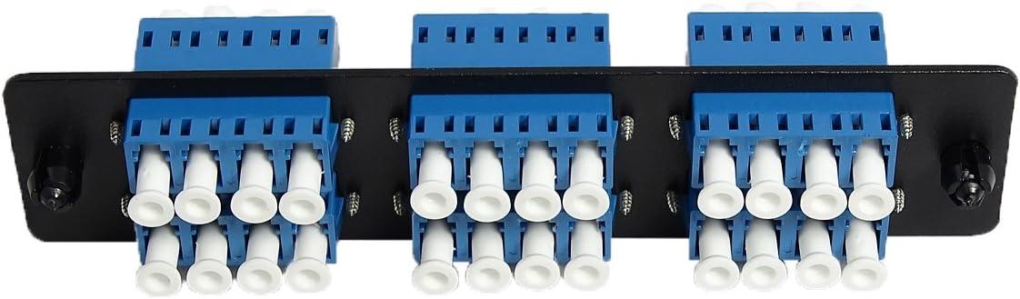 Loaded w//6 LC Quad Singlemode Adapters Black 6 Ports RiteAV LGX Footprint LC Adapter Panel