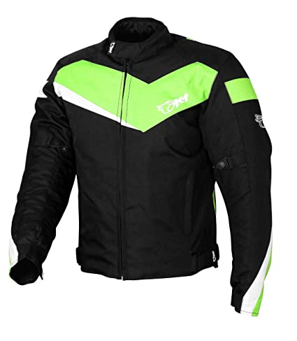 JET Chaqueta Moto Ciclomotor Hombre Textil con Protecciones Ligero Basic ECONOTECH (M (EU 48-50), Verde)