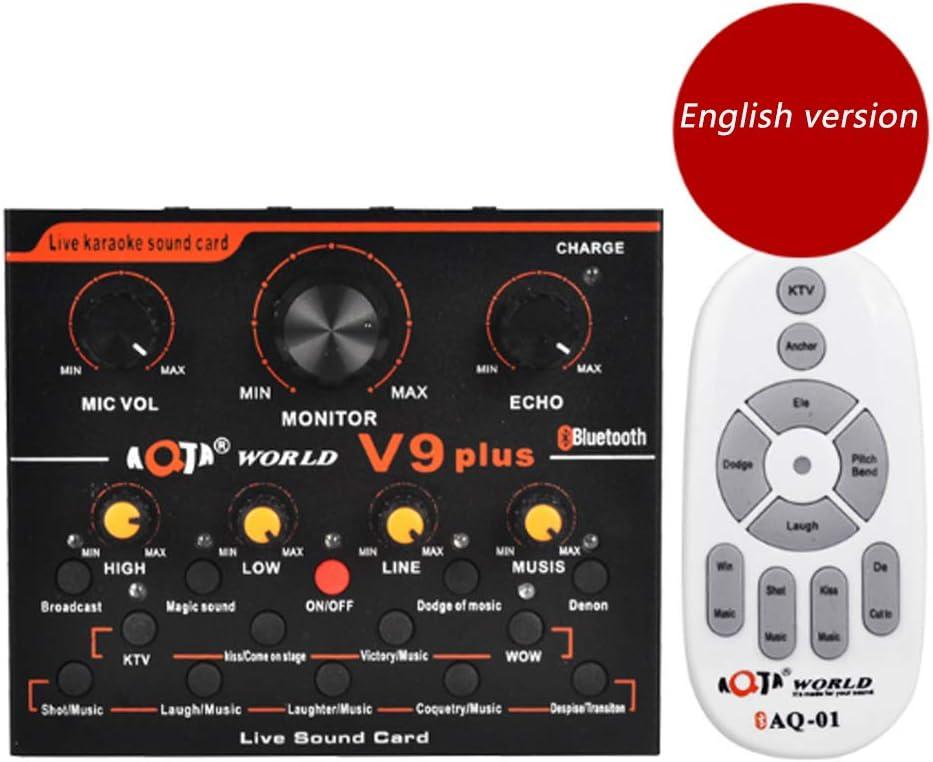 Computer and Mobile Phone Universal Sound Card Professional Digital Audio Sound Karaoke Machine Echo Mixer System YYZLG Sound Card V9 Voice Converter