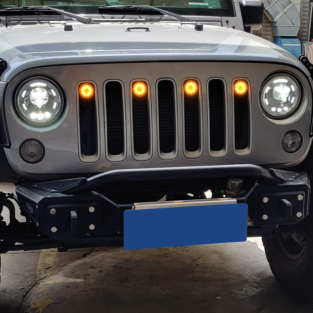 ZGAUTO Original Grille White Light Fits for Jeep Wrangler JK Rubicon Sahara 2007-2015(4 Pcs,The Grille without The Insert Frame Trims)