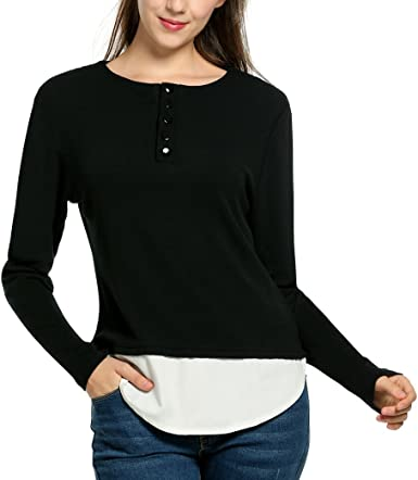 Cromoncent Mens Slim Fit Long-Sleeve Stitching Top Tee Tunic T-Shirt