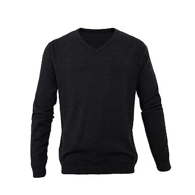 678f5fb5f59 L.ROIINE V Neck Sweater Men,Cotton Cashmere Blend Fine Gauge Solid Knit Soft