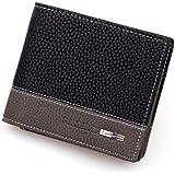 HCFKJ Mens Leather Bifold Money Card Holder Folding Wallet Purse Clutch Pockets