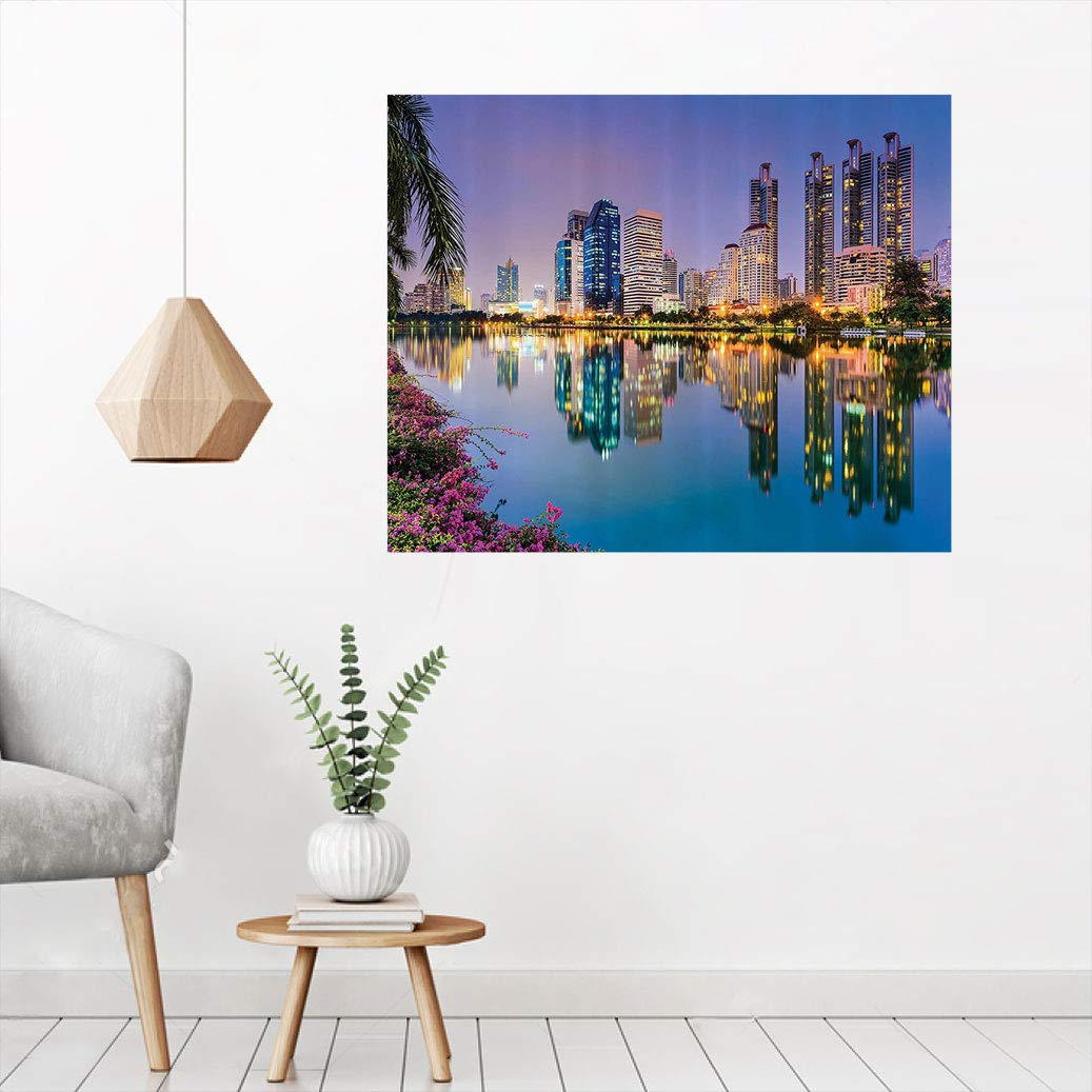 Amazon Com Wanderlust Decor Canvas Wall Art Print Bangkok Thailand At Benjakiti Park Lake Flowers Palms Southeast Asia Touristic Places Print Wall Picture Wallpaper Removable Sticker 16 W X 24 L Navy Baby