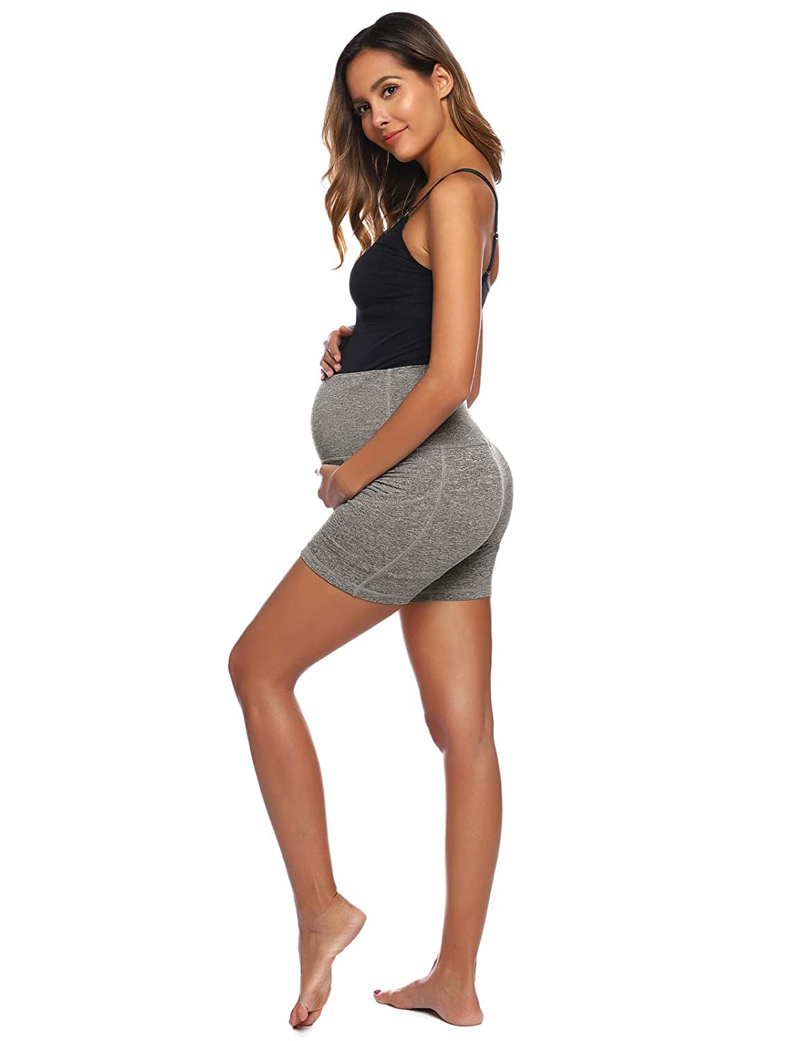 Women Maternity Yoga Shorts Over The Belly Workout Running Active Athletic Shorts