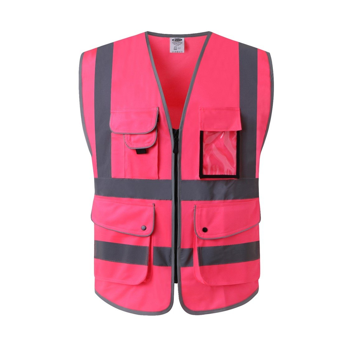 JKSafety 9 Pockets Class 2 High Visibility Zipper Front Safety Vest With Reflective Strips, Meets ANSI/ISEA Standards (Medium, Pink) by JKSafety (Image #1)