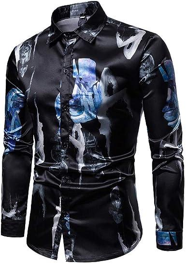 Camisetas para Hombre Hombre para Primavera Verano Primavera Casual Mode De Marca Camisas Slim Fit Camisa De Manga Larga Estampada Blusa Camiseta Blusa Superior Camisas Polos Camisas Tops Tops De: Amazon.es: Ropa