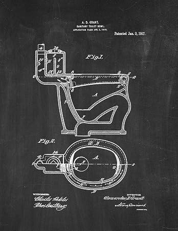 Amazon.com: Sanitaria toilet-bowl Patent Impresión Arte ...