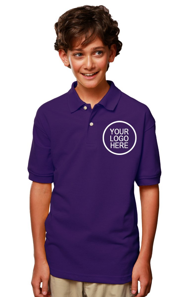 Blue Generation 24 Pieces Custom Logo Embroidered BG5204 Youth Superblend Polo (Purple)