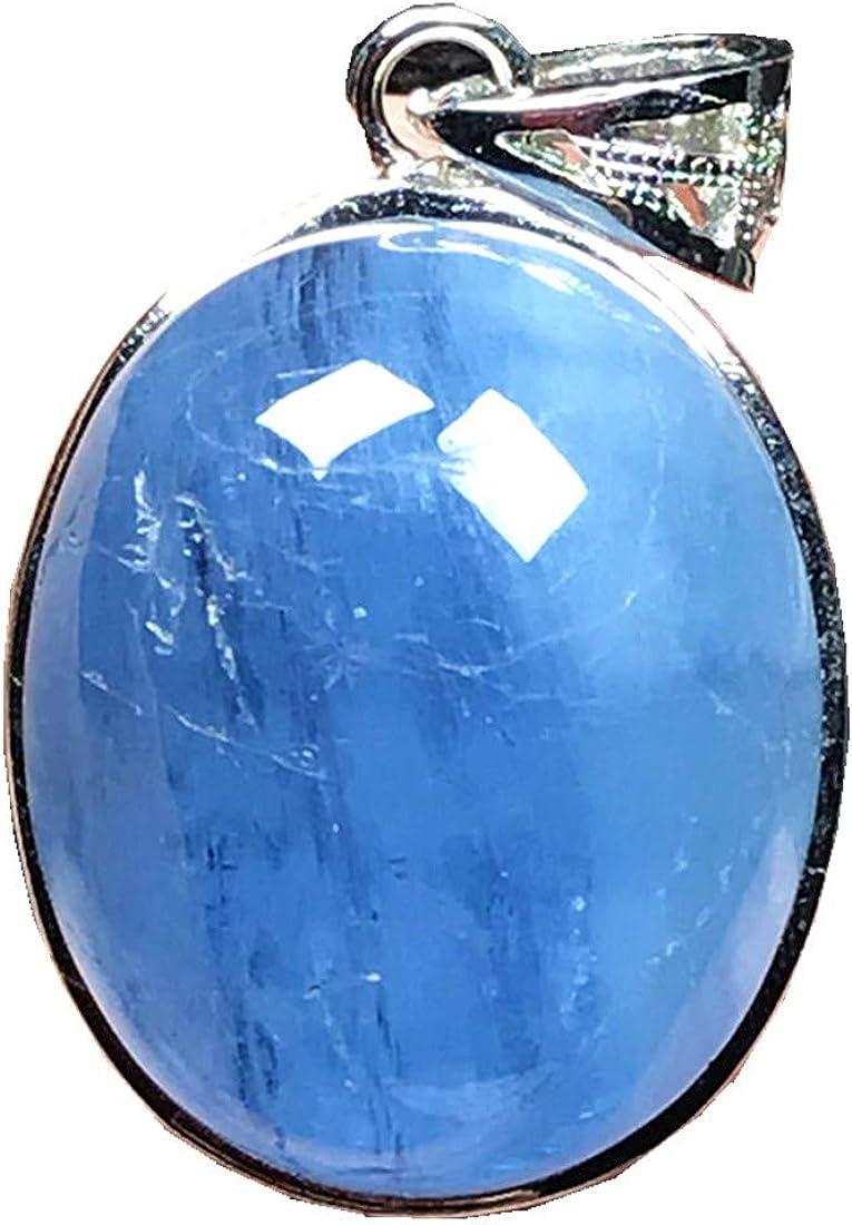 DUOVEKT - Colgante de aguamarina natural de plata de ley, color azul océano, piedra de aguamarina para mujer, hombre, cristal ovalado, 23 x 20 x 11 mm, cuentas de piedras preciosas AAAAA