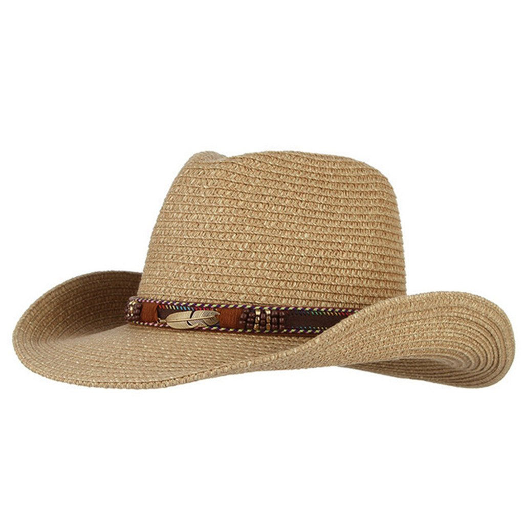 Cowboy Hats for Women Men, Straw Hats Alloy Feather Beads Wide Brim Sun Caps