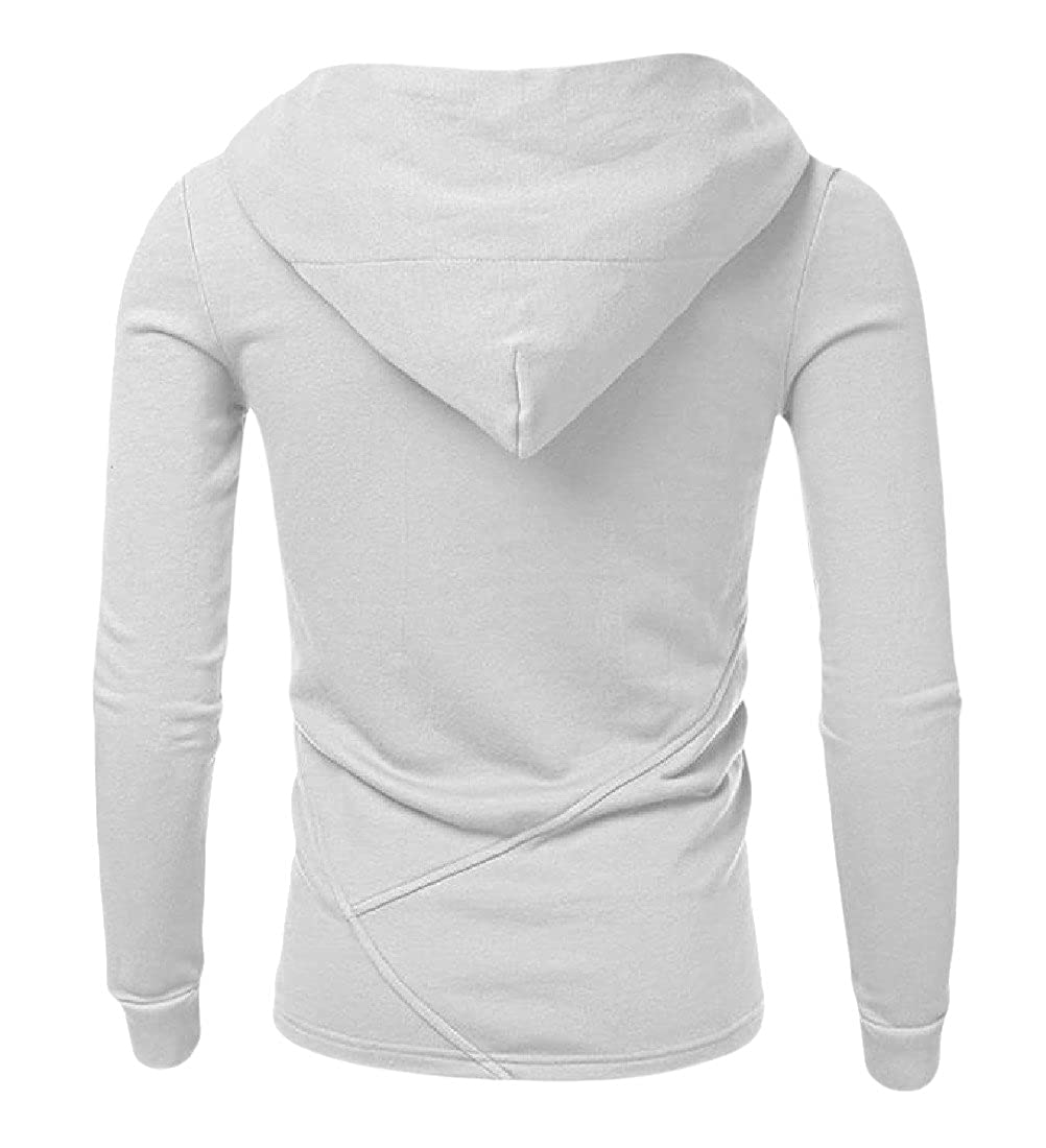 Honey GD Men Loose Fit Solid-Colored Crewneck Thin Hooded Sweatshirts