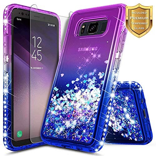 Galaxy S8 Active Case w/[Tempered Glass Screen Protector], NageBee Glitter Liquid Quicksand Waterfall Floating Flowing Sparkle Bling Diamond Girls Cute Case for Samsung Galaxy S8 Active -Purple/Blue
