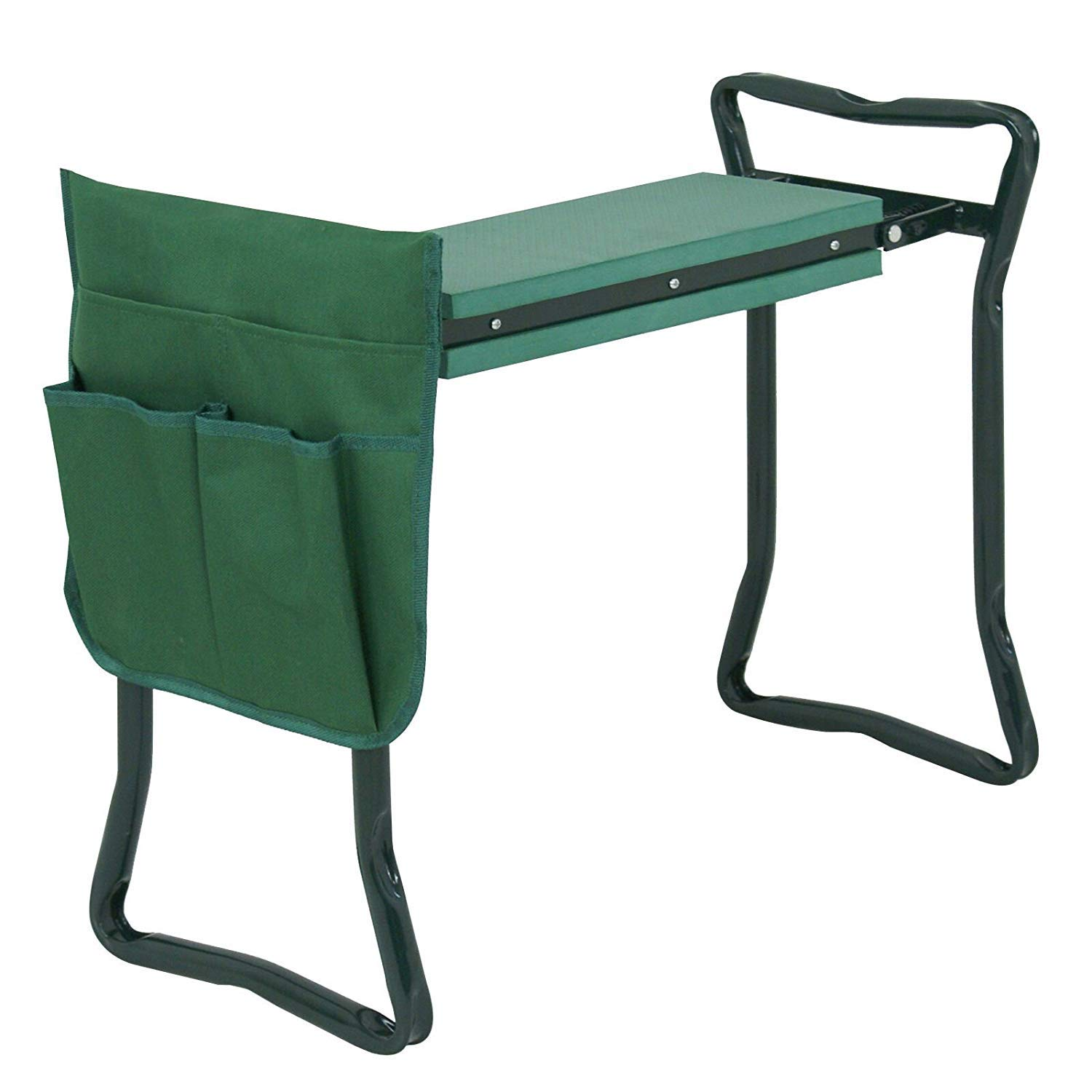 Oteymart Garden Kneeler Bench Kneeling Cushioned Steel Seat Portable Kneeling Pad Garden Stool Multi-Purpose Gardener Deep Seat with Tool Pouches