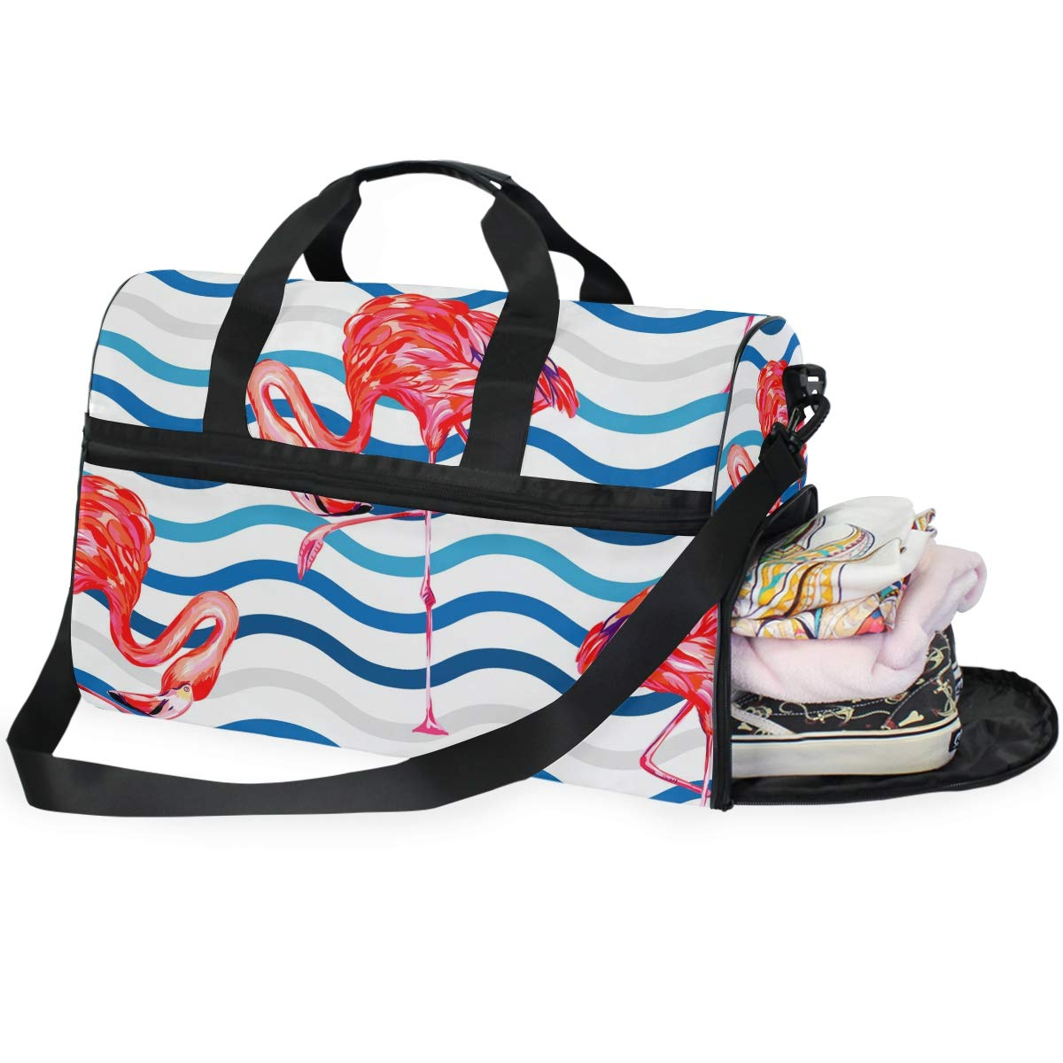 FAJRO Gym Bag Travel Duffel Express Weekender Bag Big Wave Flamingo Pattern Carry On Luggage with Shoe Pouch