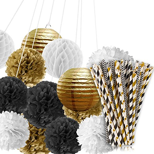 Paxcoo Black and Gold Tissue Paper Pom Poms Lanterns and Pap
