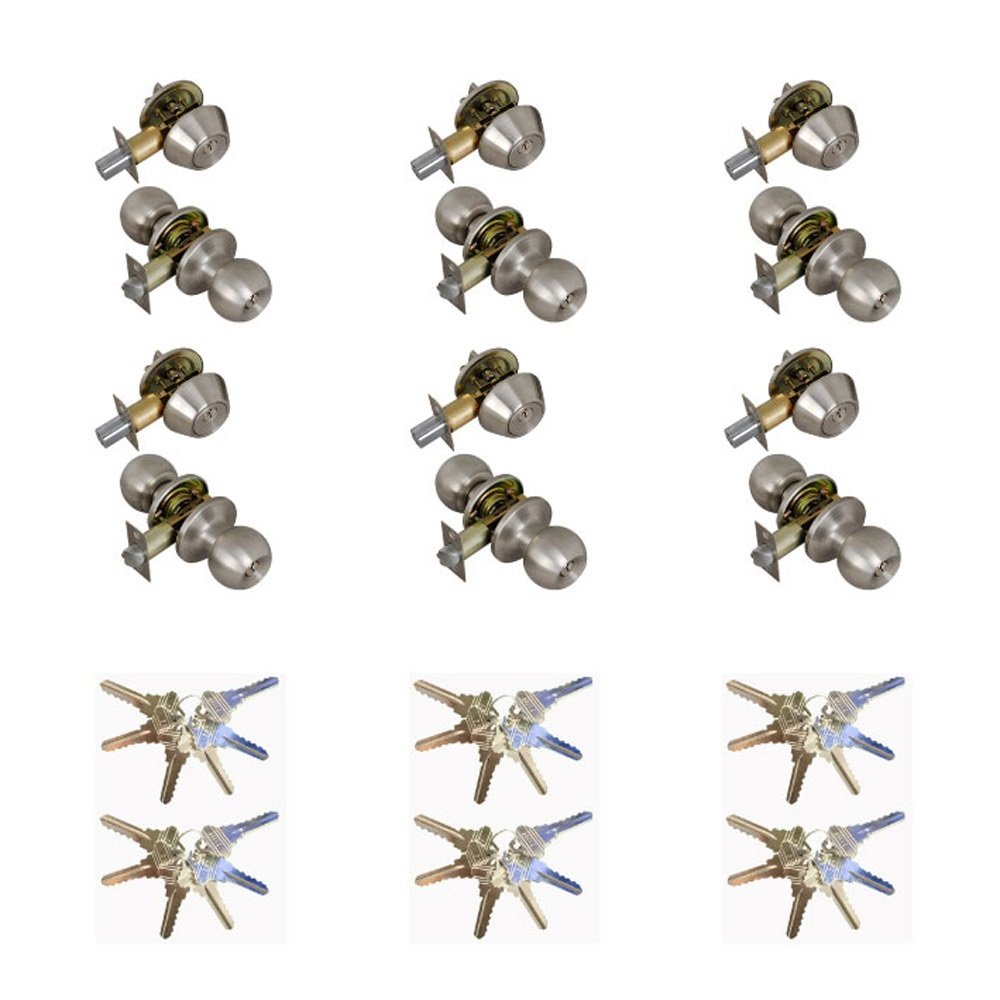 Grip Tight Tools Combo Entry Door Knob and Double Cylinder Deadbolt Lock Set, Keyed Alike, SC1 Keyway, Set of 6 (Satin Stainless Steel)