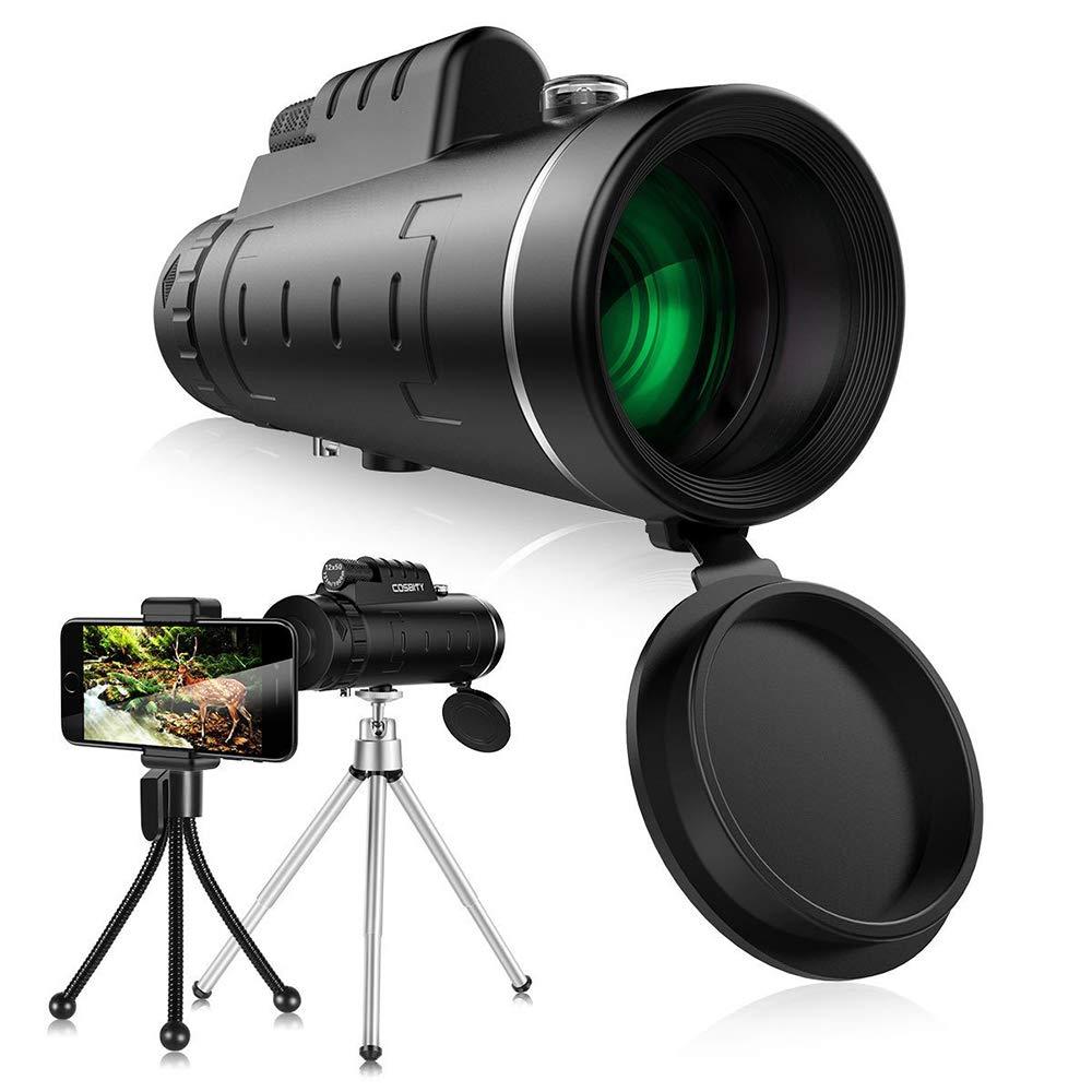 JFS 10X42 HD-Duel Focus-Wide View-Waterproof Best Monocular, with BAK4 Tripod+Optics Zoom - for Bird Watching Wildlife Scenery-for Hunting/Hiking/Bird Watching/Sports by JFS