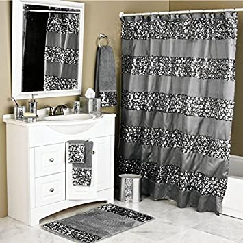 1 Piece Cracked Glass Pattern Shower Curtain Metallic Silver Bathroom For Tub Embroidered