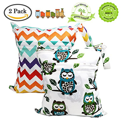BESEGO Wet and Dry Cloth Diaper Bags - 2pcs, Nappy Organizer