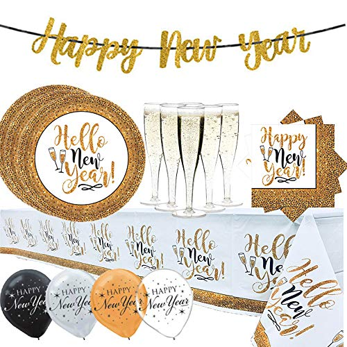 Happy New Years Black and Gold Party Supplies Pack With Decoration For 20 People With 25 Plates, 25 Napkins, 1 Tablecover, 20 Champagne Flutes, and Glitter NYE Banner By Another Dream! ()