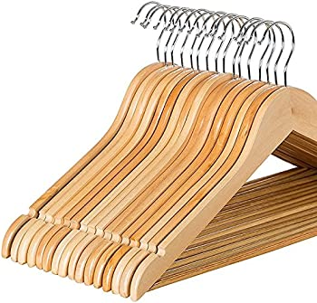 20 Pack Zober Solid Wood Suit Hangers