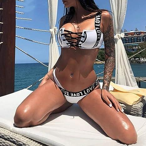 82b857b17 Amazon.com: Myzixuan Bikini Sets 2019 Push up Sports Swimwear Women Lace up  Thong Swimsuit Female Bandeau Bathing Suit Beach wear: Garden & Outdoor