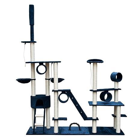SENLUOWX Rascador Para Gatos Lujoso 230-260 cm Azul Oscuro Felpa Gimnasio