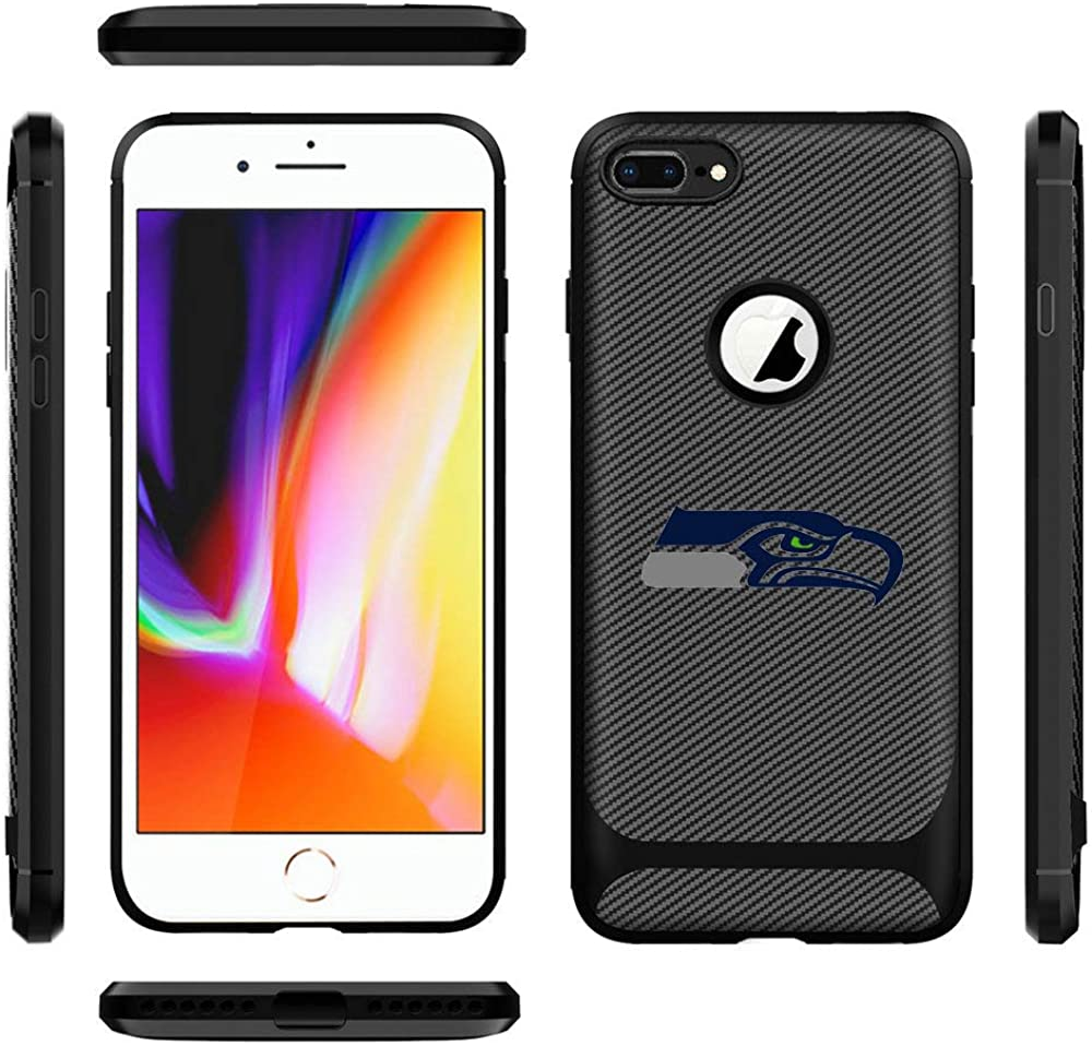 iPhone 8 Plus Case iPhone 7 Plus Cover Slim Soft Carbon Fiber Pattern Silicone TPU Protective Durable Snap on Shell for iPhone 7 Plus/8 Plus 5.5 Inches Black