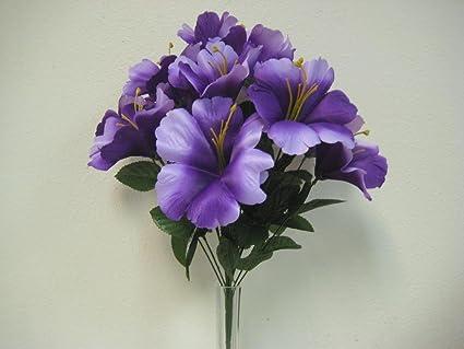 Buy Purple Hibiscus Bush Artificial Silk Flowers 18 Bouquet 14