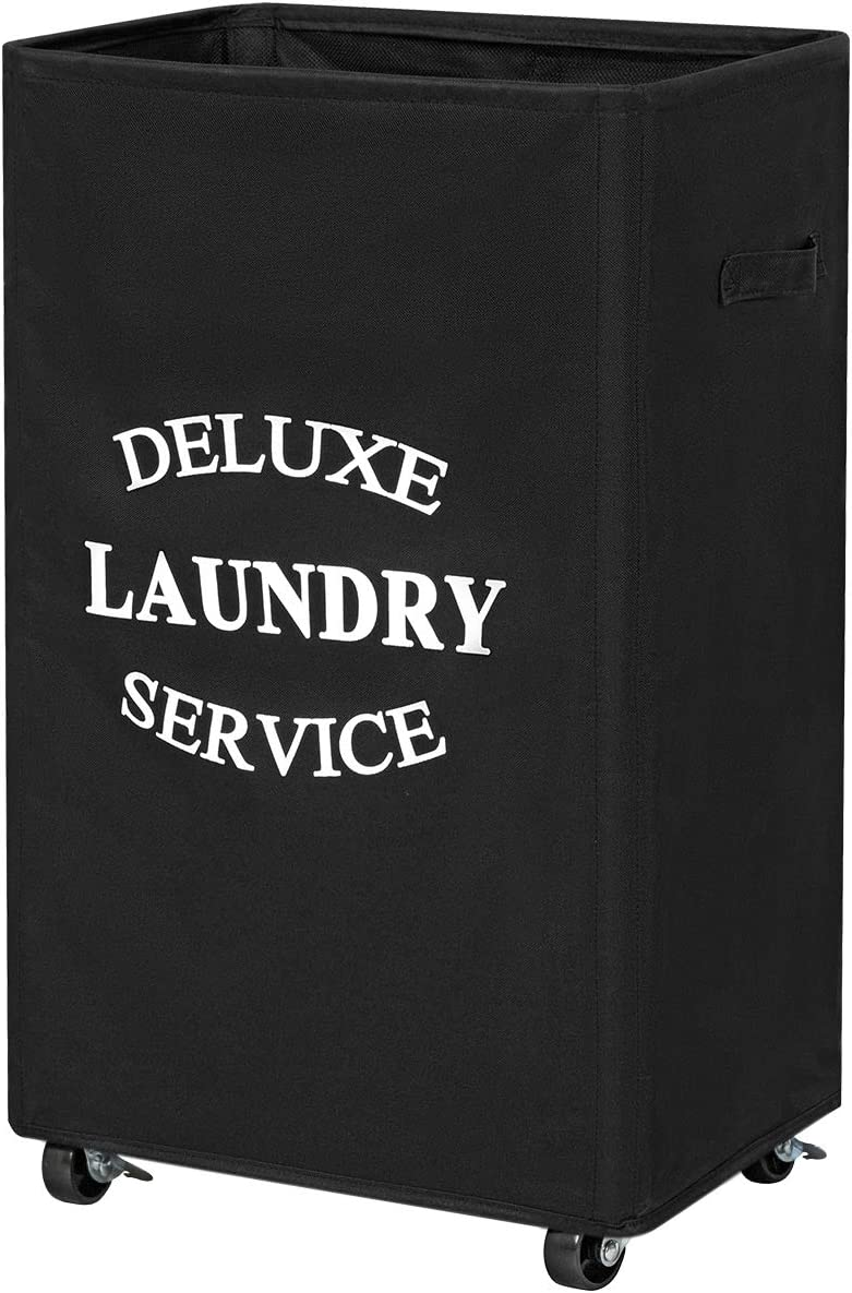 Chrislley 90L Rolling Laundry Hamper with Wheels Large Basket for Laundry Collapsible Clothes Hamper on Wheels (Black)
