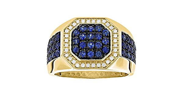 Jalash Unique Hip Hop Style CZ Diamond Mens Large Ring in Yellow Gold Plating Gift for His