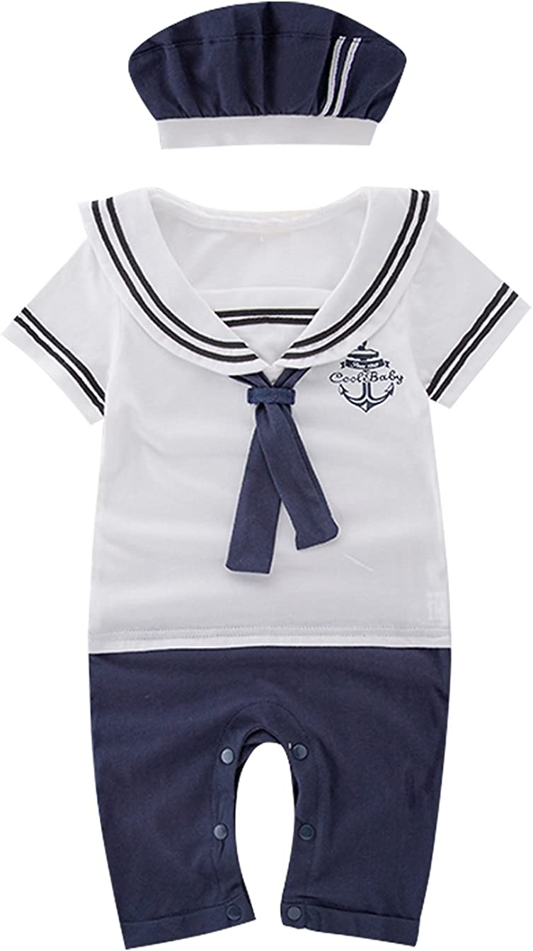 Hat 2pcs Outfit Set Nyan Cat Mays Baby Boy Toddler Sailor Marine Short Sleeve Romper