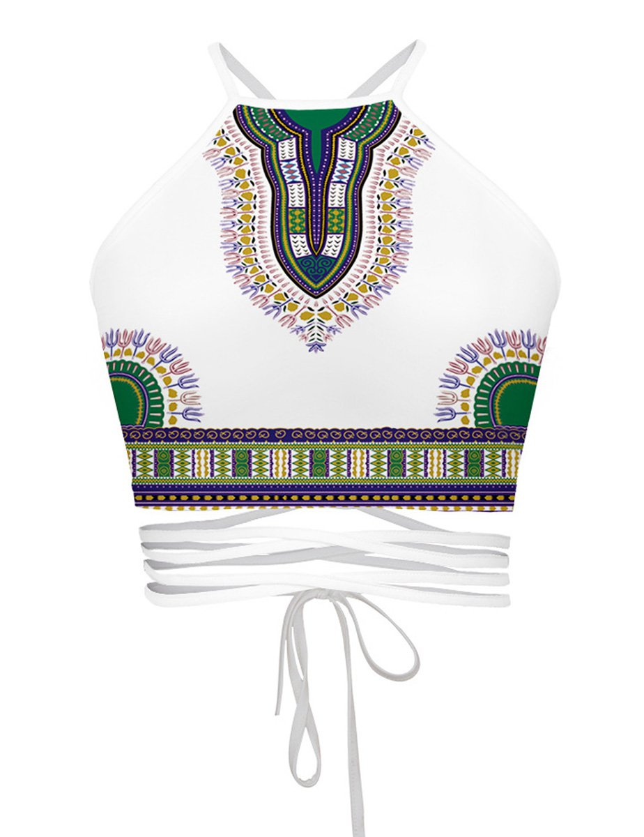 DaDa Deal Women's Teens Girls Juniors Halter Sexy Vest Crop Top Shirt (One Size, National Style) by DaDa Deal