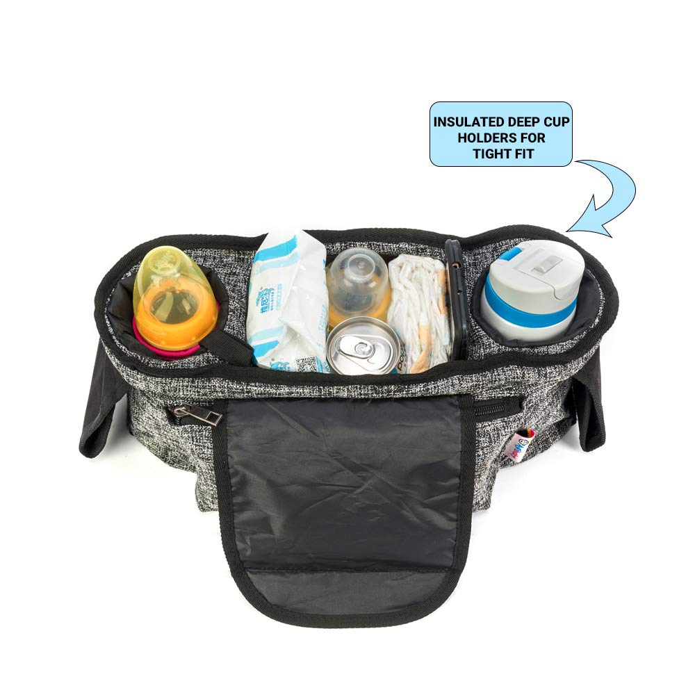 Agibaby Stroller Organizer, Insulated Deep Cup Holders, Instant Access Wipe Pocket, Universal Strap Fit, Large Storage Space by Agibaby (Image #2)