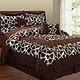 Fashion Street Micro Suede 6-Piece Comforter Set, Giraffe, Queen, Brown/Tan