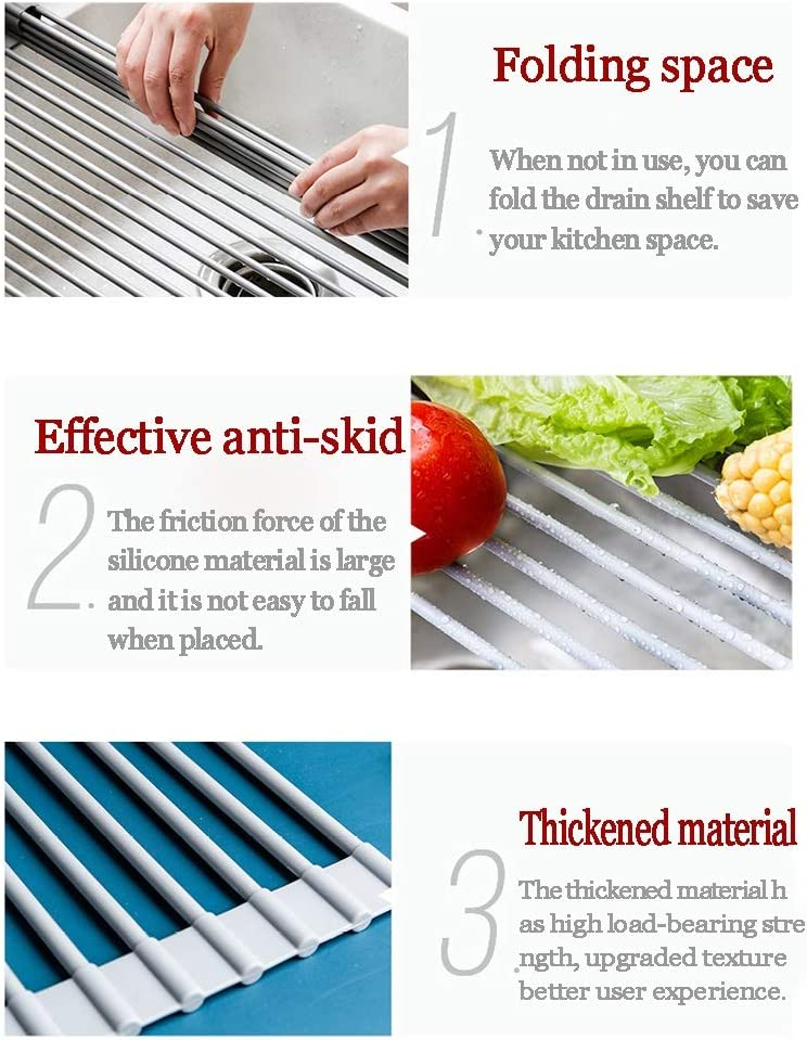 ++ Dish Drying Rack Rolling Rack Roll-Up Folding Over The Sink Multi-Purpose Roll-Up Dishwasher Home Fit for Stainless Steel Sink 52 33cm Dish Racks